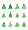 christmas tree line set concept tree icon vector image vector image