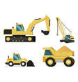 construction mining industry machines set vector image vector image