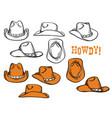cowboy hats set hand drawn graphic vector image