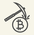 cryptocurrency mining line icon crypto pickaxe vector image vector image
