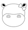 cute female hippo character icon vector image