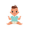 cute little baby boy sitting on the floor stage vector image vector image