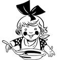 eating girl vector image