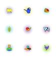Farmyard icons set pop-art style vector image