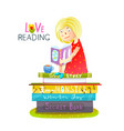 girl sitting on pile of books reading vector image vector image