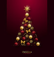 greeting card with 3d christmas tree vector image vector image