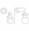 Happy and sad snowman isolated on white background vector image vector image