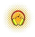 Headphone icon comics style vector image