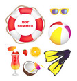 hot summer items collection vector image vector image