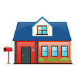house painted red with blue roof vector image
