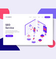 landing page template seo service concept vector image
