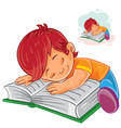little boy reading a book and falling vector image vector image