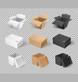 mockups cardboards delivery packs realistic design vector image
