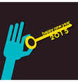 new year 2015 key hold in hand vector image