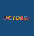 october concept word art vector image vector image