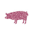 pig farm mammal color silhouette animal vector image vector image