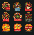 Pizza color labels isolated italian restaurant vector image