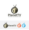 planet television logo design vector image