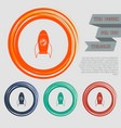 rocket icon on red blue green orange buttons vector image vector image
