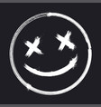 scary grunge smile face halloween sticker vector image vector image