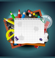 school supplies art and empty white paper on blue vector image vector image