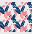 seamless pattern hand drawn blue and pink leaves vector image vector image