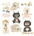 set cute llama alpaca in yoga asana postures vector image vector image