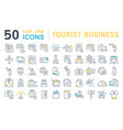 set line icons tourist business vector image vector image