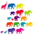 Set of elephant colored silhouettes vector image