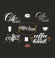 set of hand drawn lettering coffee with stains vector image