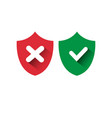 shield red and green icons check mark protection vector image vector image