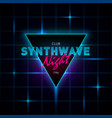 synthwave retrowave triangle with blue and pink vector image vector image