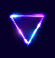 triangle background neon sign with light effects vector image vector image