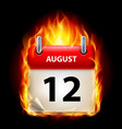 twelfth august in calendar burning icon on black vector image vector image