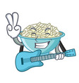with guitar rice bowl mascot cartoon vector image