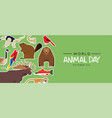 world animal day banner cute wildlife stickers vector image
