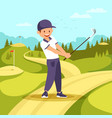 young smiling man in sport uniform hold golf club vector image vector image