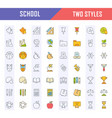 set flat line icons school vector image