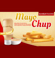 3d realistic ad poster - mayochup sauce vector image vector image