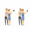 a couple making selfie - cartoon people character vector image