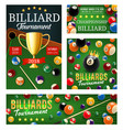 billiard or pool tournament cups and balls vector image vector image