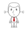 businessman line cartoon face angry expression and vector image vector image