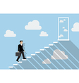 Businessman stepping up a staircase to the real vector image vector image