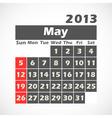 Calendar 2013 May vector image
