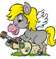 cartoon of a pony hors there is playing on a vector image vector image