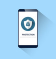 cell smart phone with lock on shield icon vector image vector image