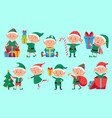 christmas elf character cute santa claus helpers vector image