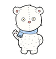 comic cartoon waving polar bear cub vector image vector image