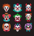 creepy clown faces set scary circus elements vector image vector image