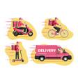 delivery man on van scooter motorbike bicycle vector image